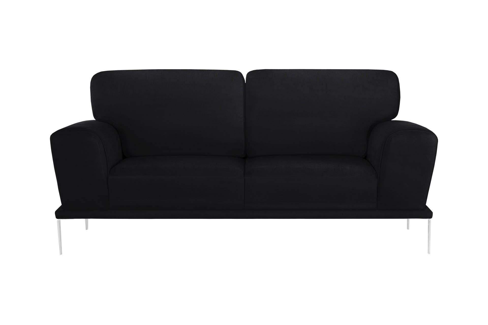 Canapé 2 places toucher coton noir