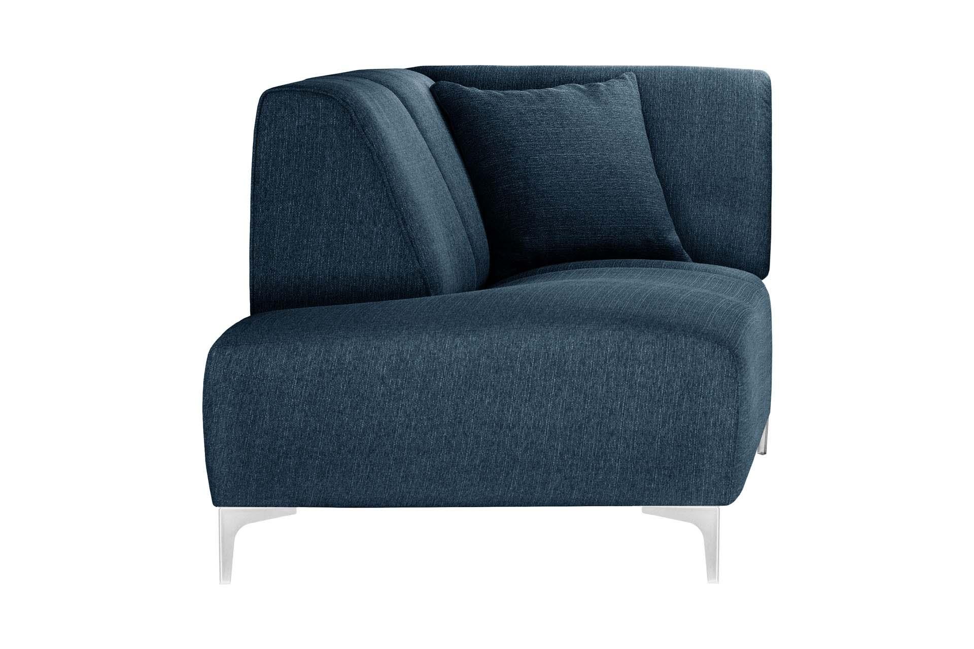 Méridienne d'angle gauche 1 place toucher lin bleu jeans