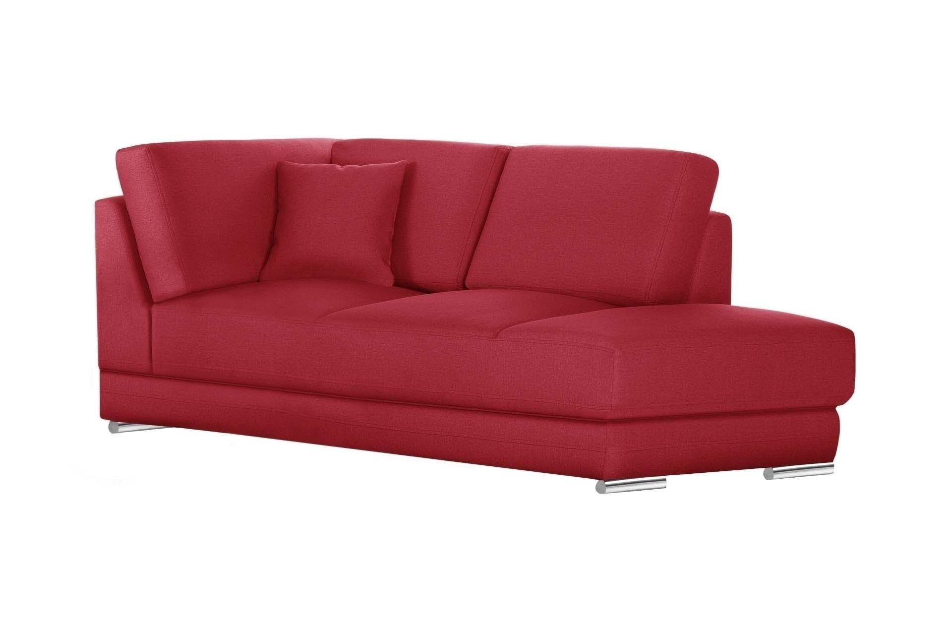 Méridienne d'angle droit 1 place toucher lin glamour rouge
