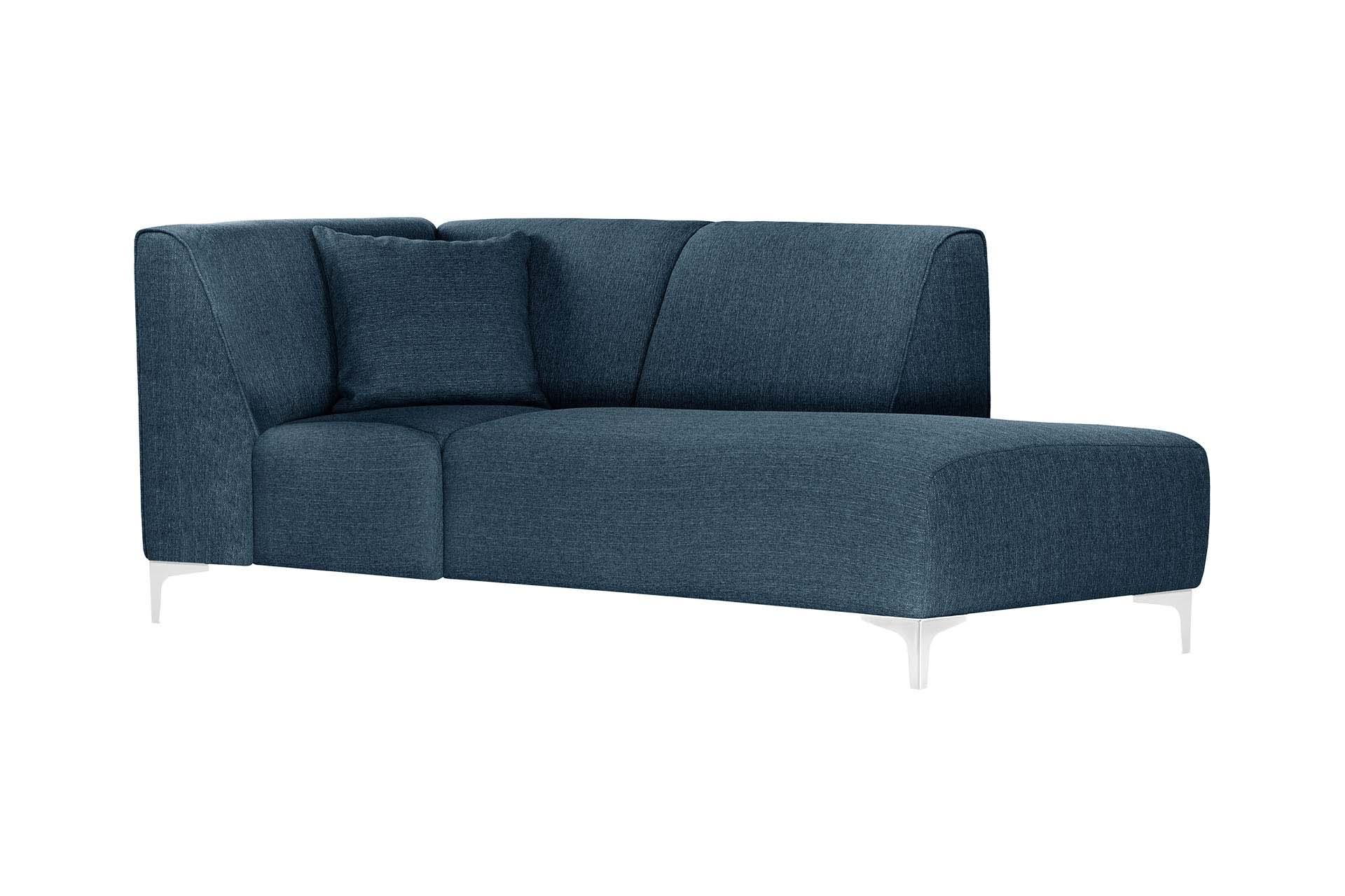 Méridienne d'angle droit 1 place toucher lin bleu jeans