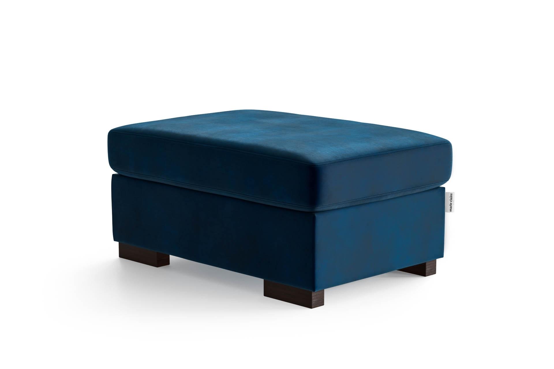 Pouf 1 place en velours bleu