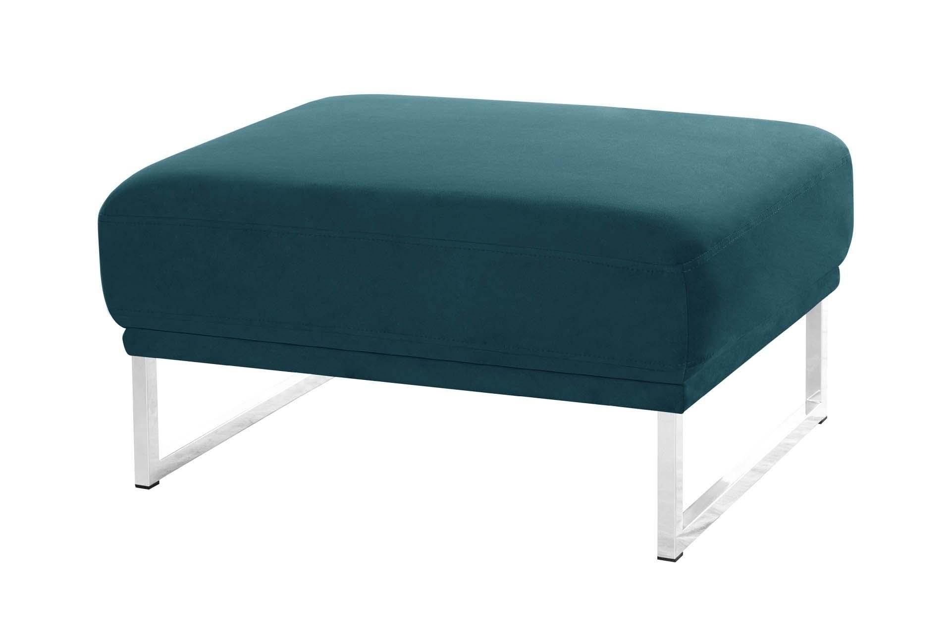 Pouf 1 place en velours bleu turquoise