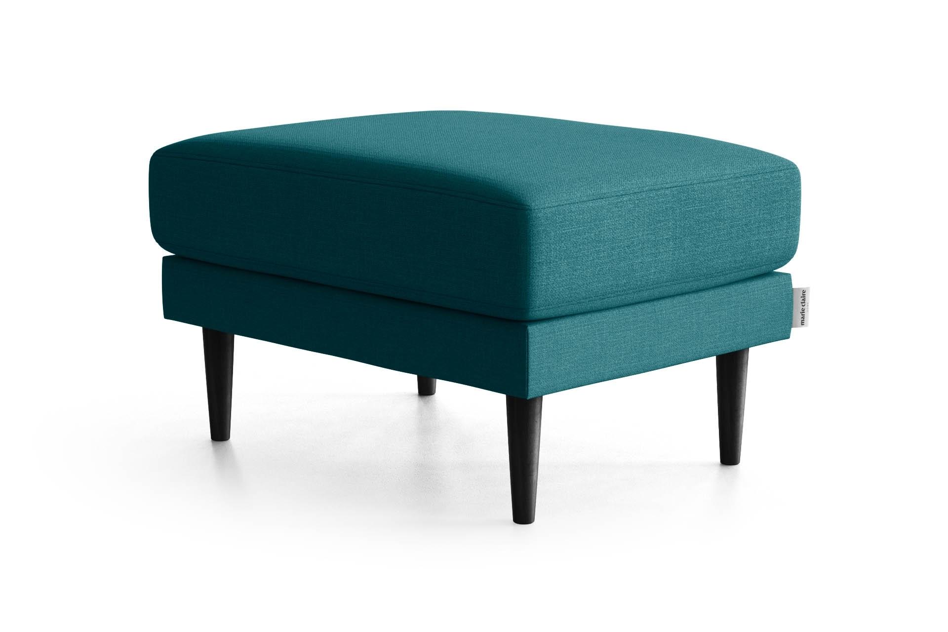 Pouf 1 place toucher lin turquoise