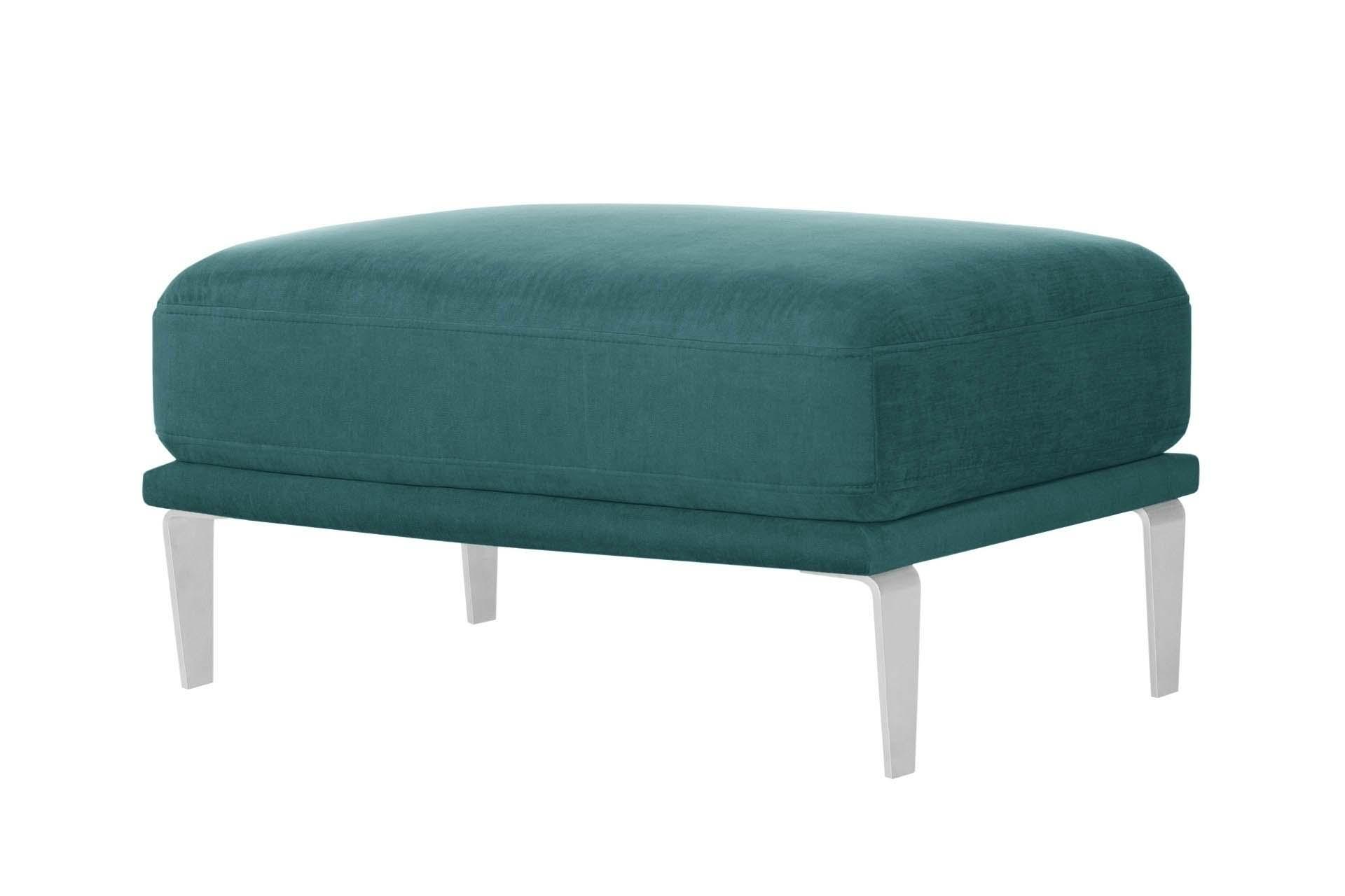 Pouf 1 place toucher coton turquoise