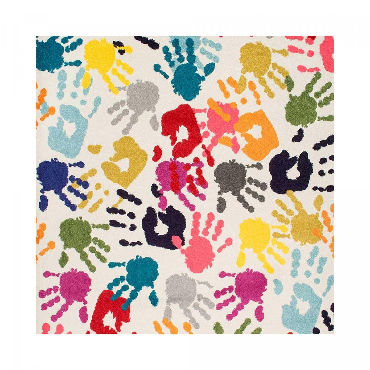 Tapis enfant en polypropylène multicolore 100x100 carré