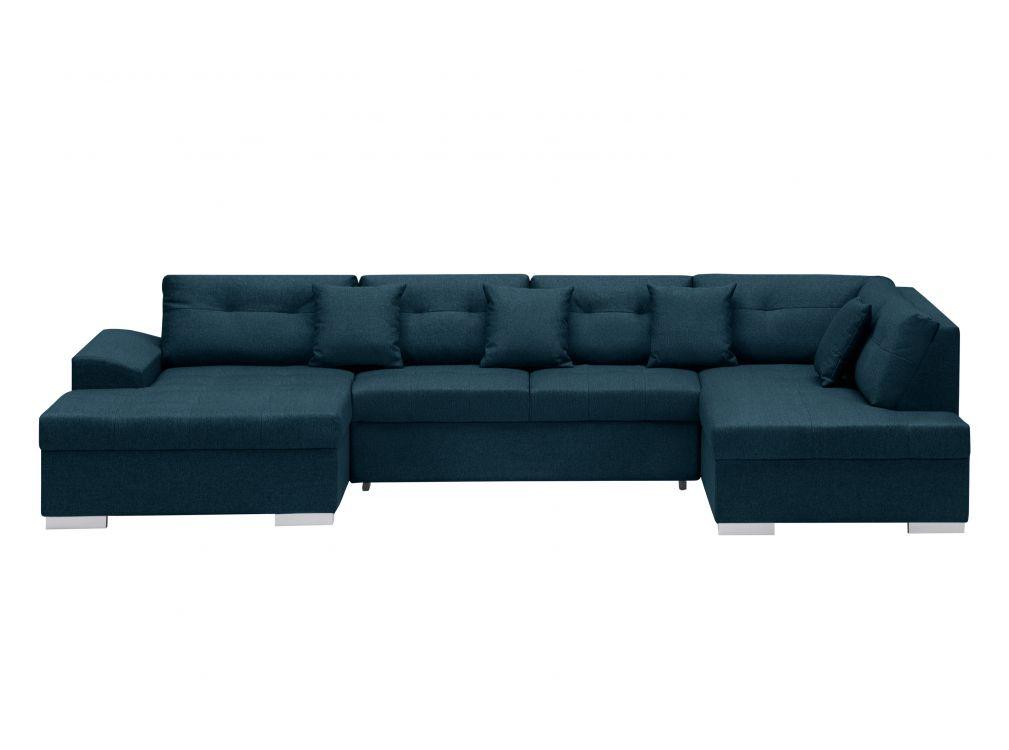 Canapé d'angle droit panoramique convertible en tissu bleu pétrole