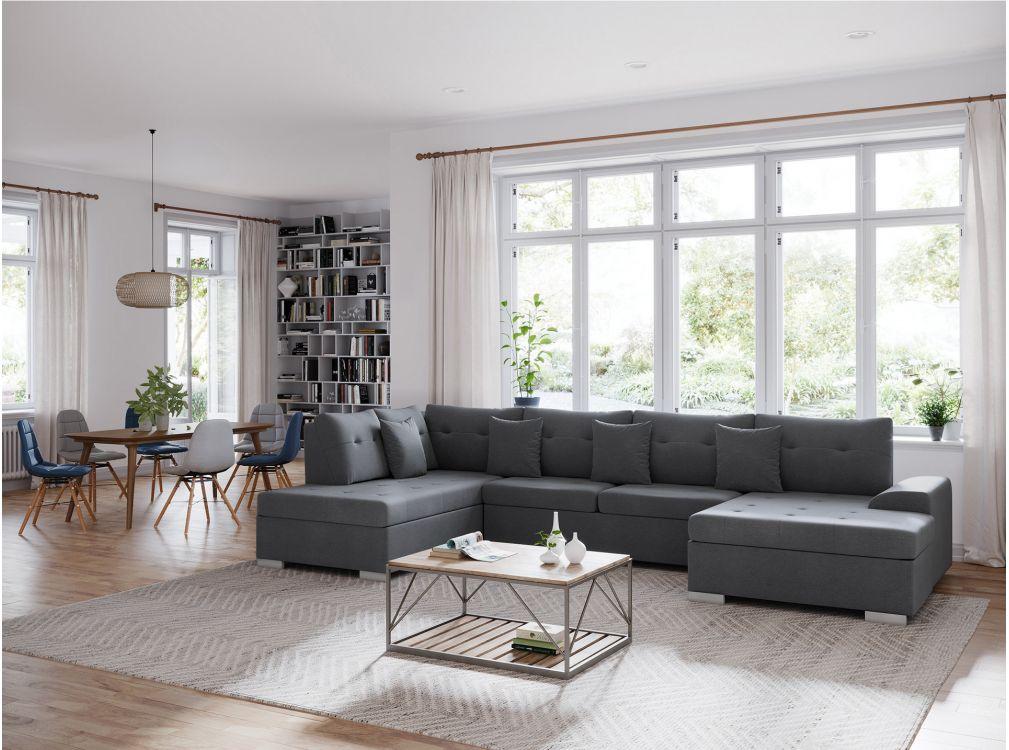 Canapé d'angle gauche panoramique convertible en tissu gris foncé