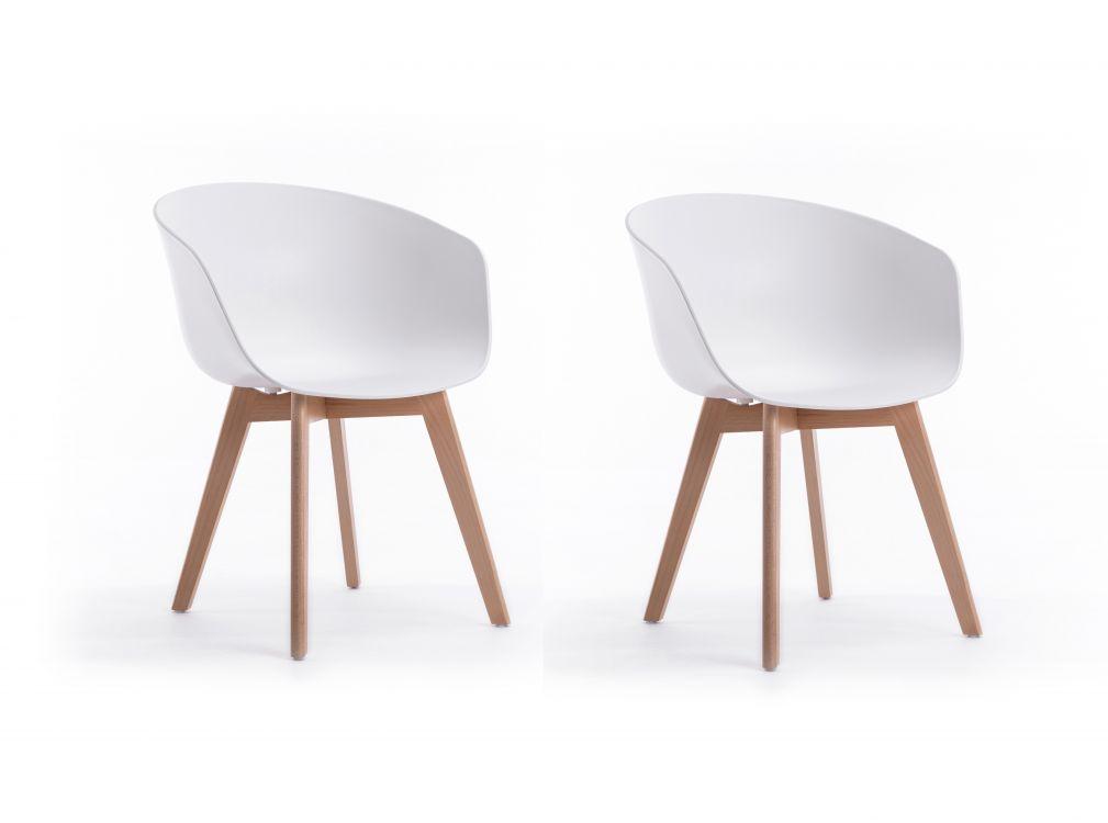 Lot de 2 chaises scandinaves blanches avec accoudoirs et pieds en bois
