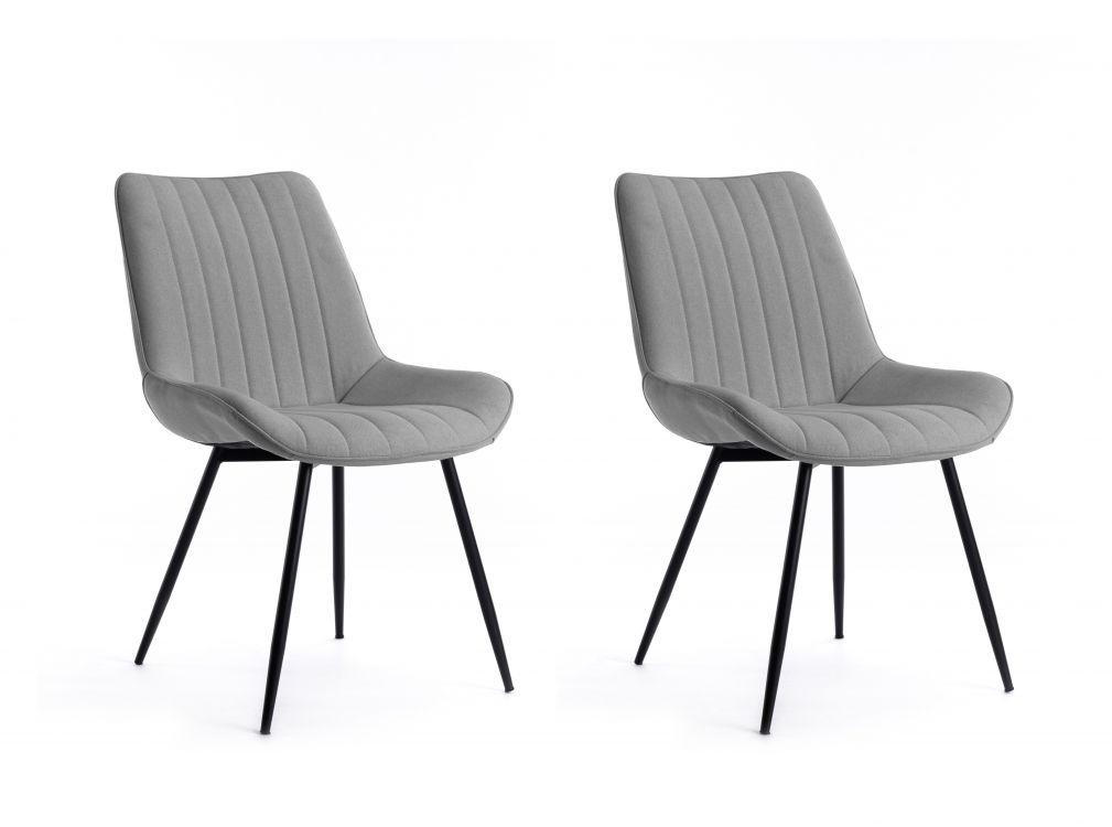 Lot de 2 chaises à rayures surpiquées en tissu gris