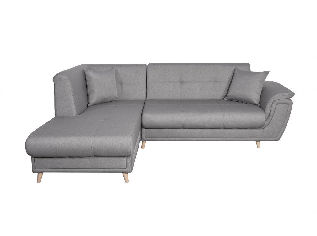 Canapé d'angle gauche convertible en tissu gris