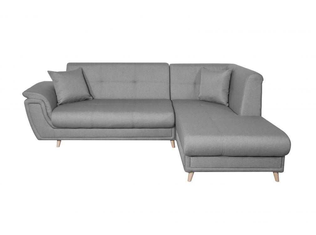 Canapé d'angle droit convertible en tissu gris