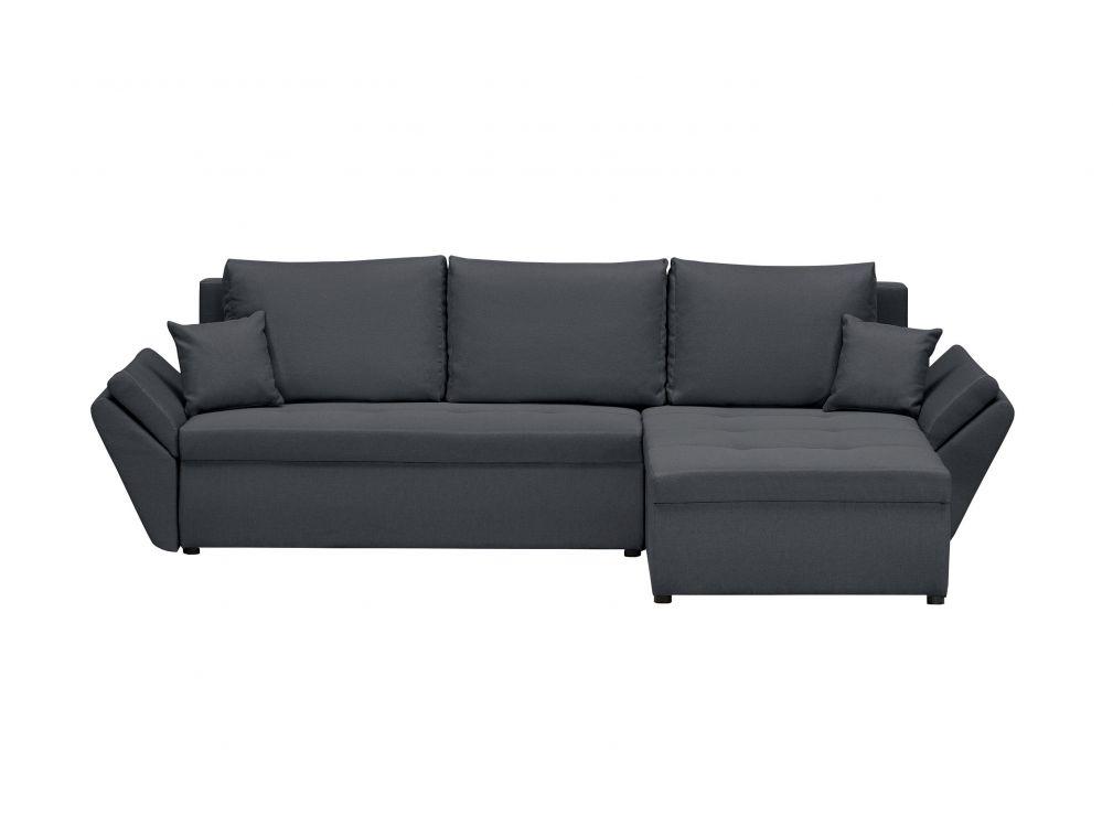 Canapé d'angle gris foncé convertible et réversible avec coffre