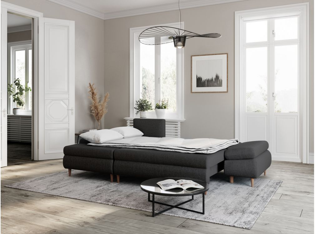 Canapé d'angle gauche convertible avec coffre en tissu gris foncé