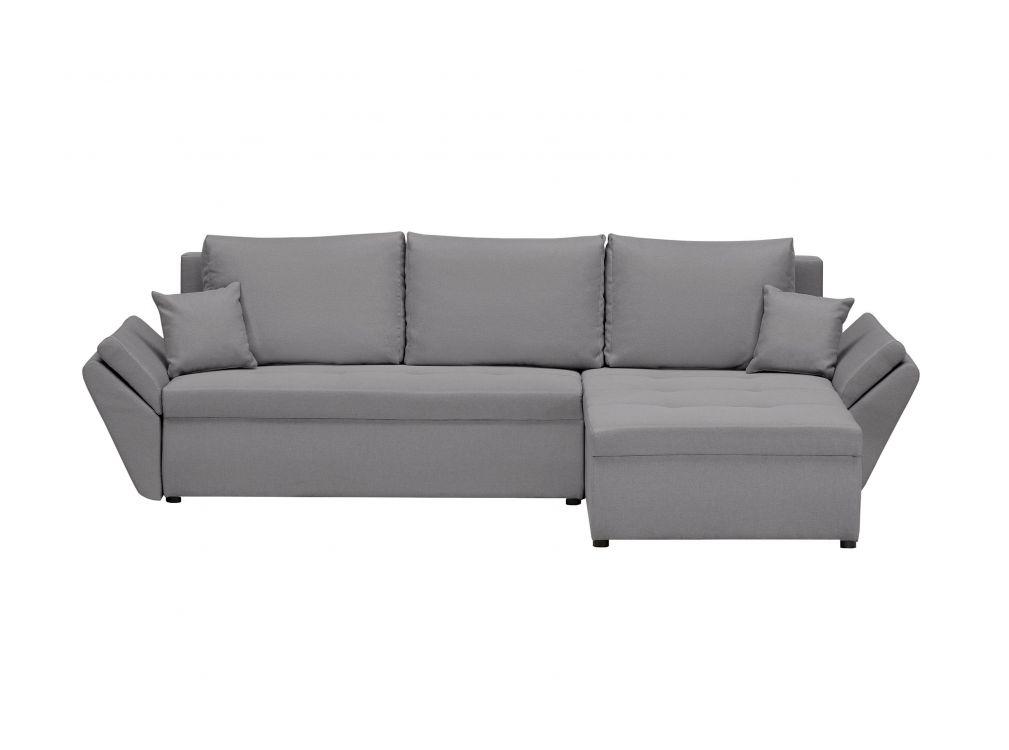 Canapé d'angle gris clair convertible et réversible avec coffre