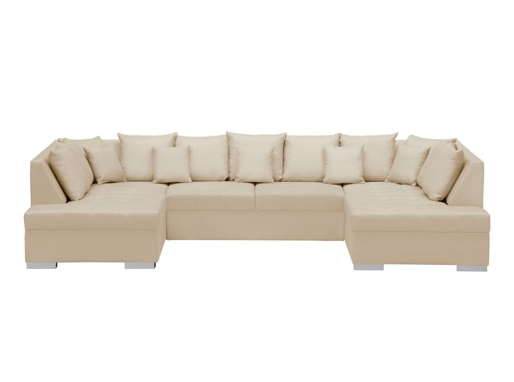 Canapé d'angle Beige Tissu Confort