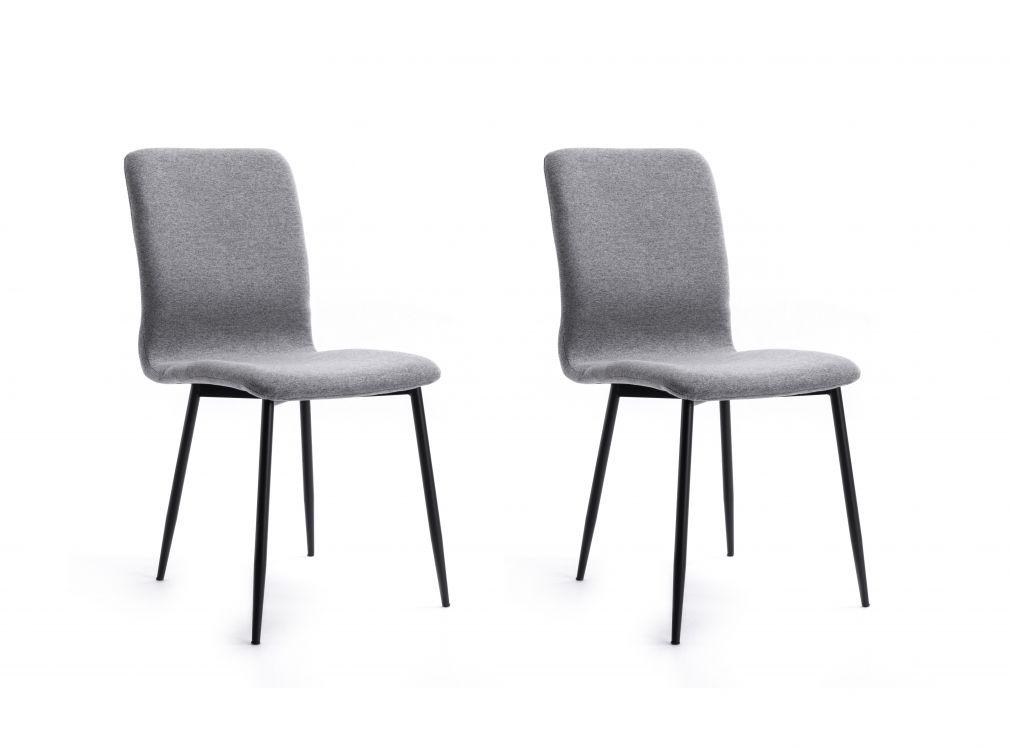 Lot de 2 chaises en tissu gris avec pieds en métal noir