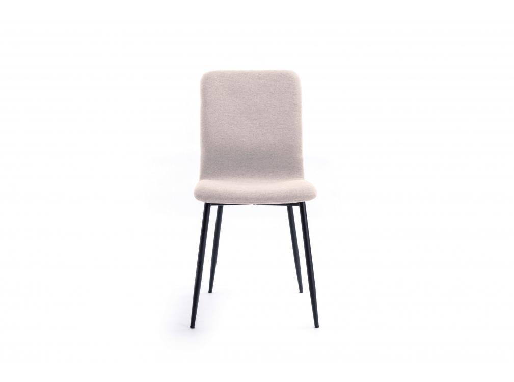 Lot de 2 chaises en tissu beige avec pieds en métal noir