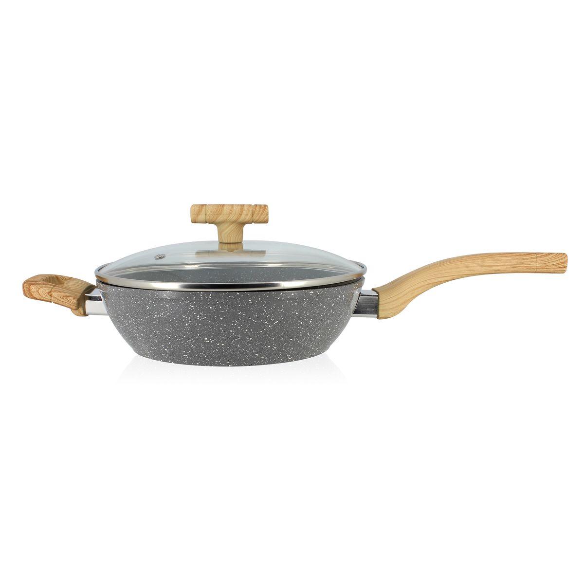Sauteuse avec couvercle et poignées en aluminium et bois 24 cm