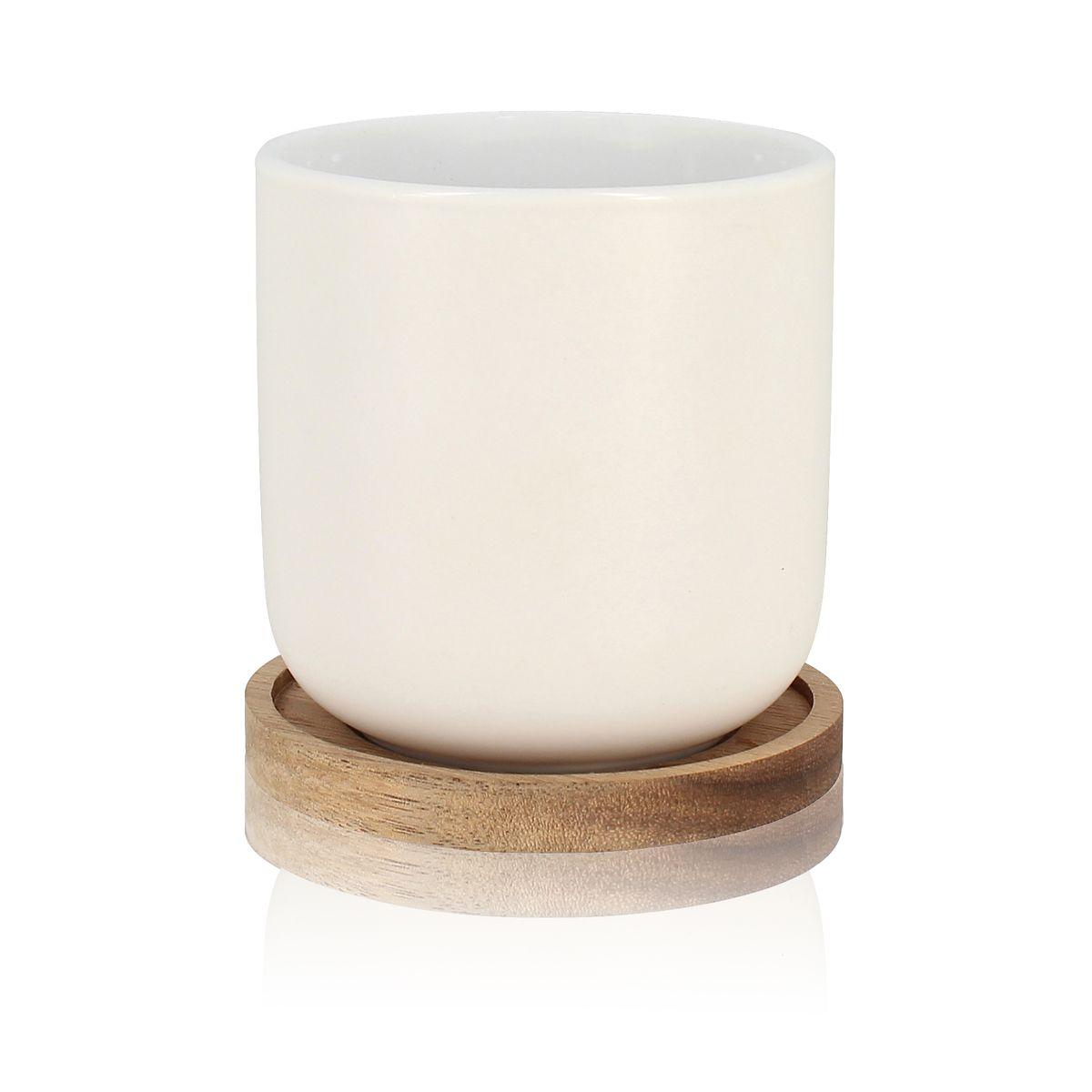 Set de 2 tasses avec support en porcelaine et acacia 25 cl