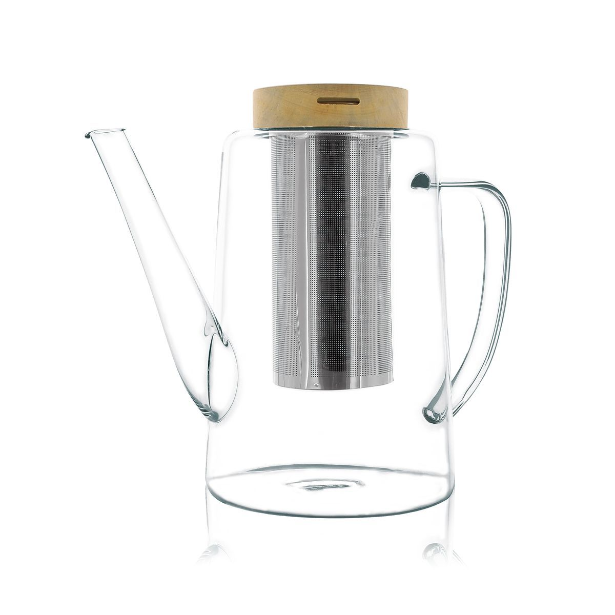 Théière avec couvercle en verre borosilicate et bois 1,2L