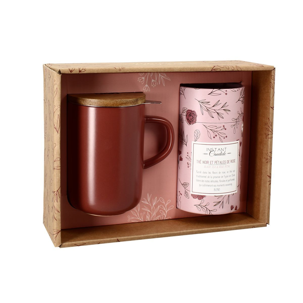 Coffret tisanière thé noir aux pétales de rose en grès Rouge 475 ml