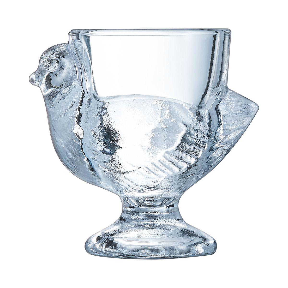 Coquetier poule en verre 7cm - Lot de 3