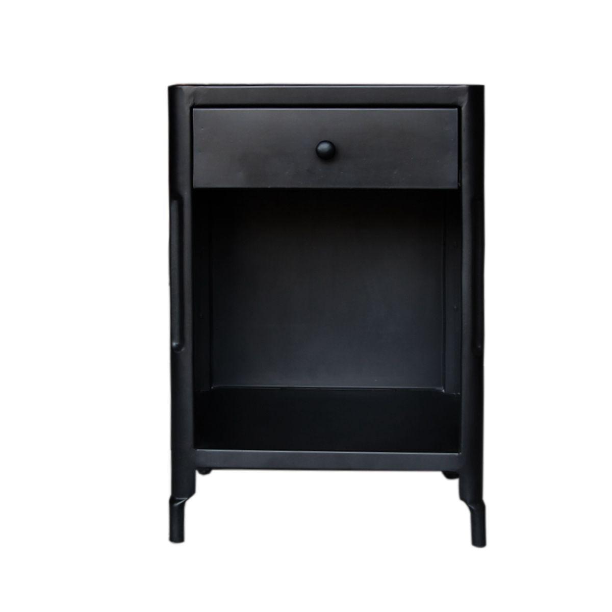 Chevet en métal 1 tiroir 1 niche noir