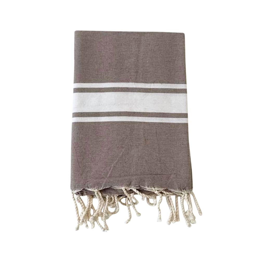Fouta traditionnelle beige taupe kozo 100 x 200
