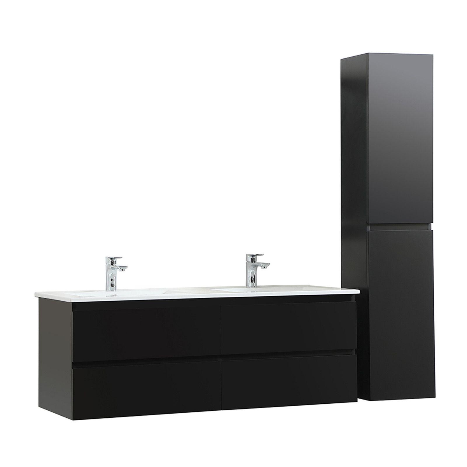 Meuble de salle de bain avec Vasques et Colonne Noir