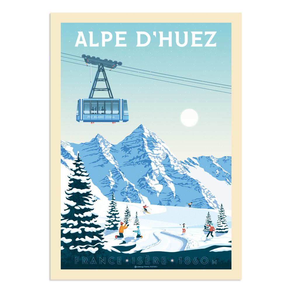 Affiche Alpe d'Huez  30x40 cm