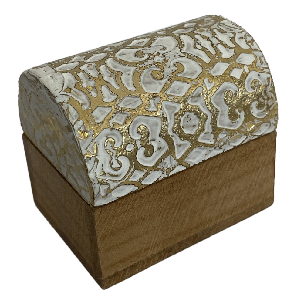 Mini boîte arabesque en bois blanc et or
