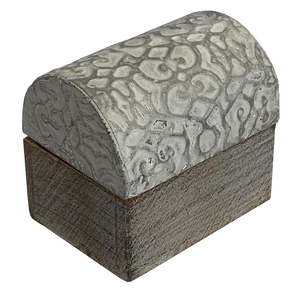 Mini boîte arabesque en bois blanc et argent