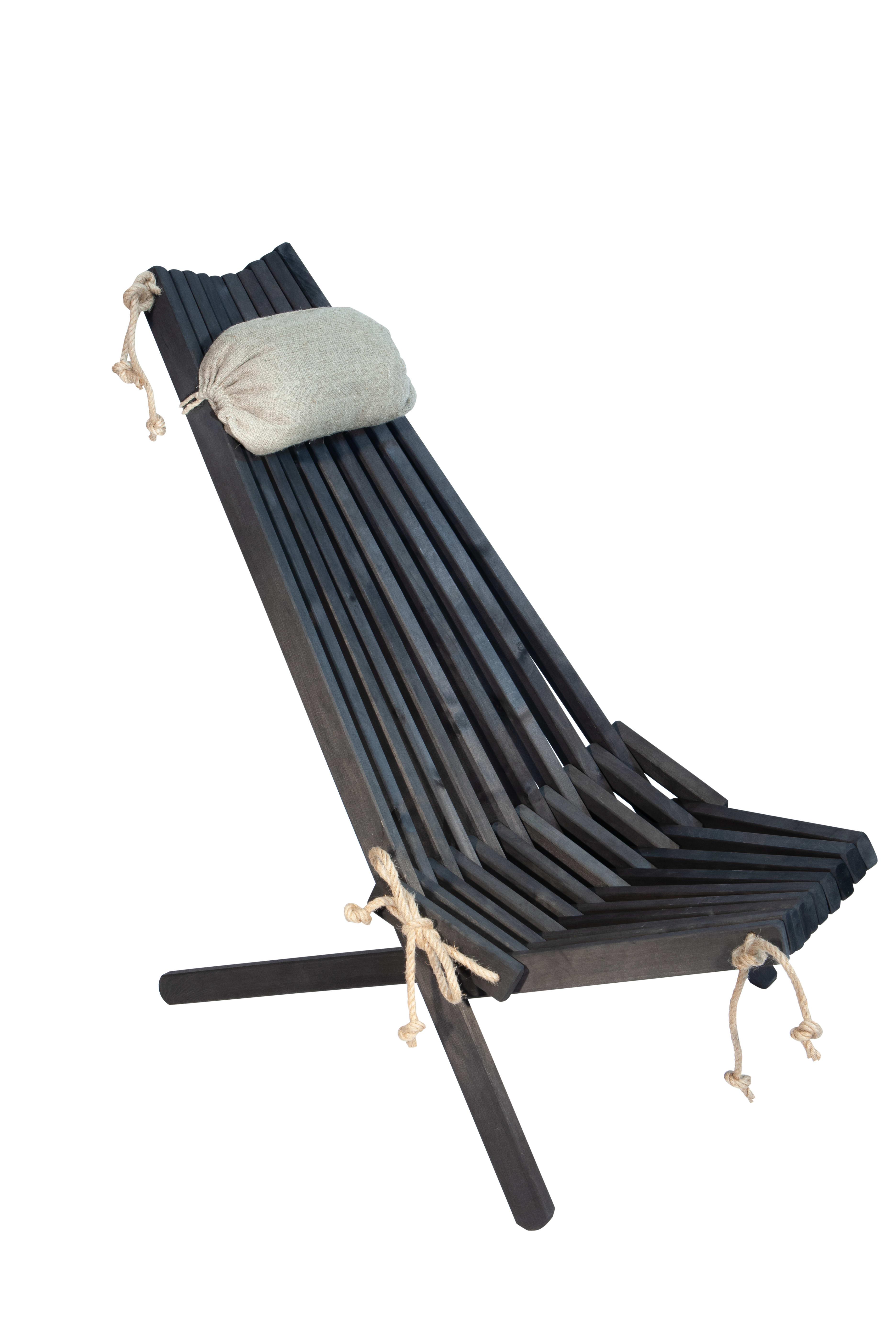 Chilienne pliante en aulne massif huilée noire avec coussin