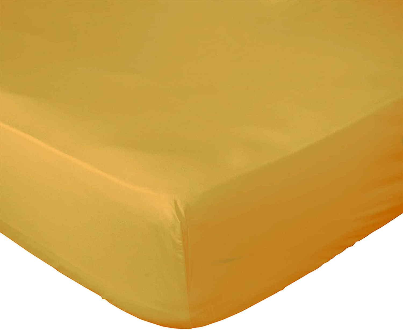 Drap Housse  coton jaune 200x200 cm