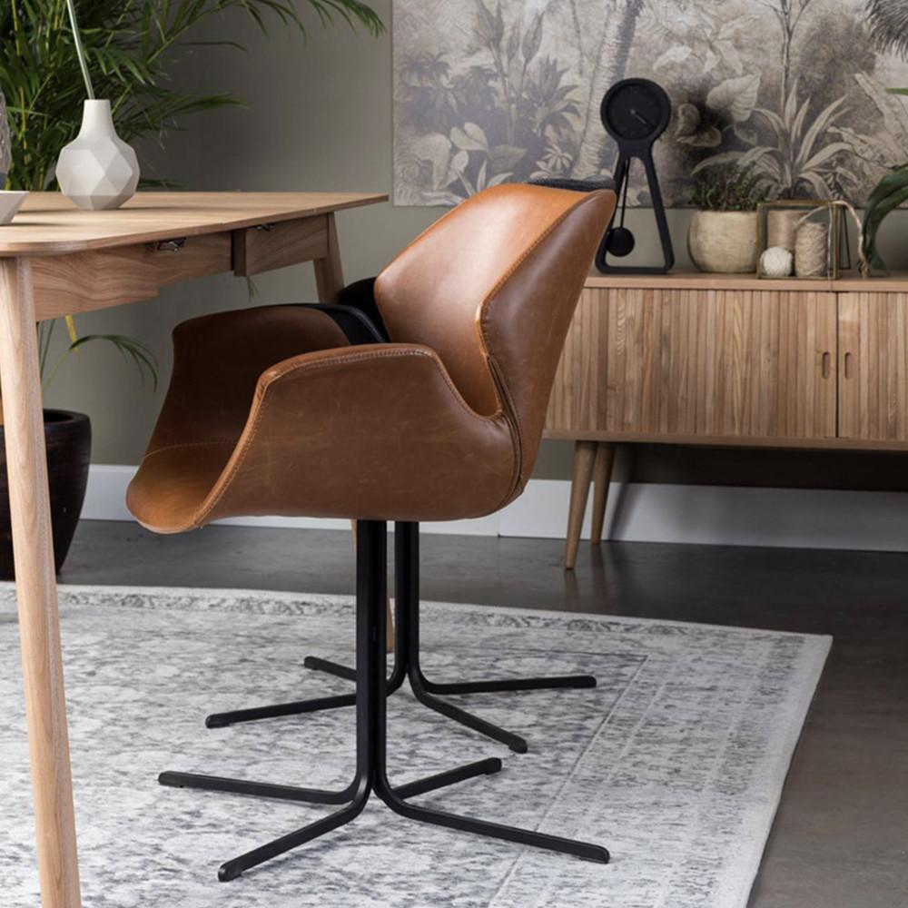 2 fauteuils de table design cognac