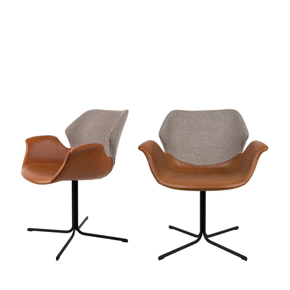 2 fauteuils de table design cognac  et  gris