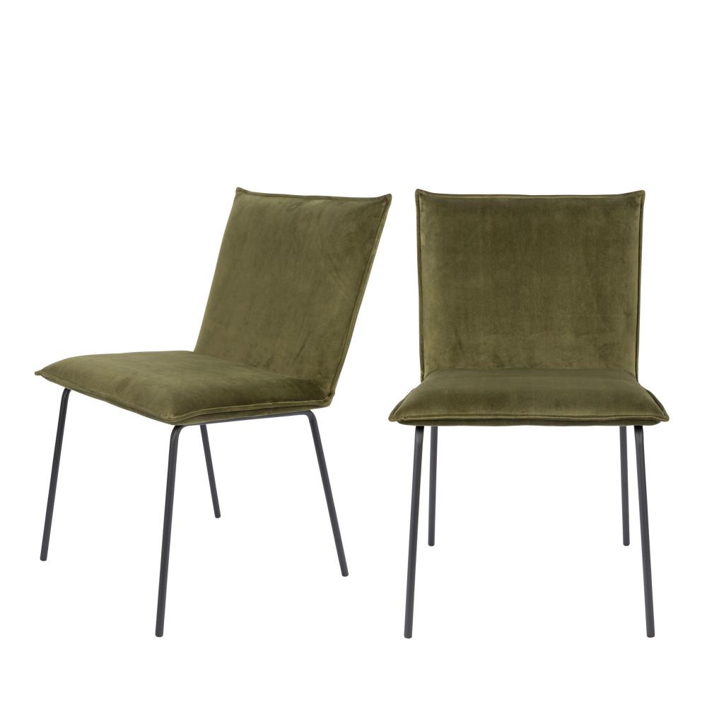2 chaises en velours vert olive