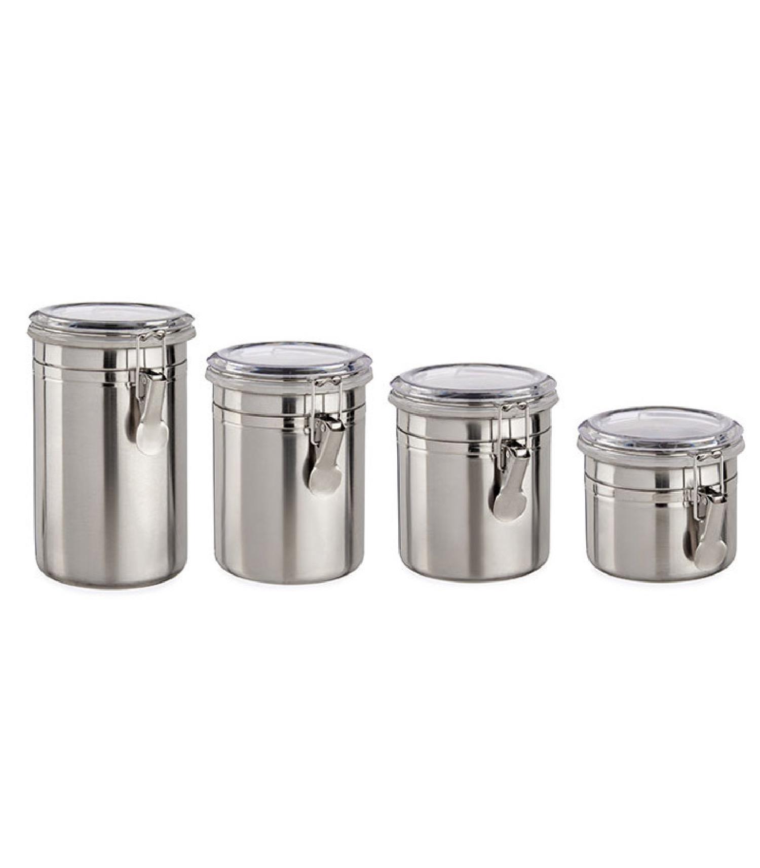 Set de 4 bocaux de cuisine hermétiques inox couvercle clip