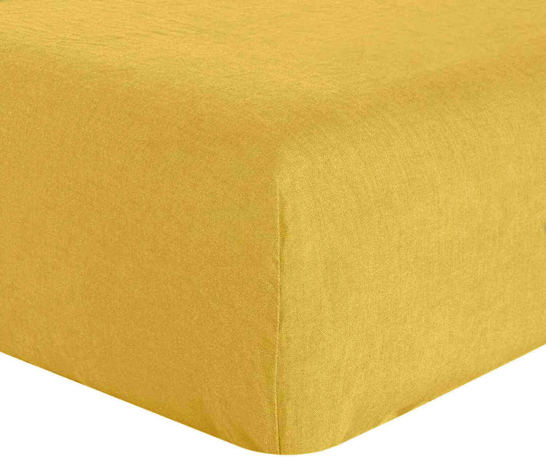 Drap Housse  lin jaune 160x200 cm