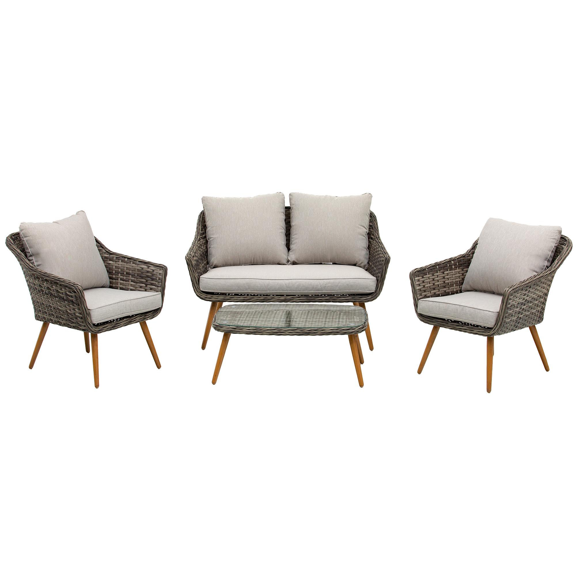 Salon de jardin 4 places 4 pièces design scandinave gris