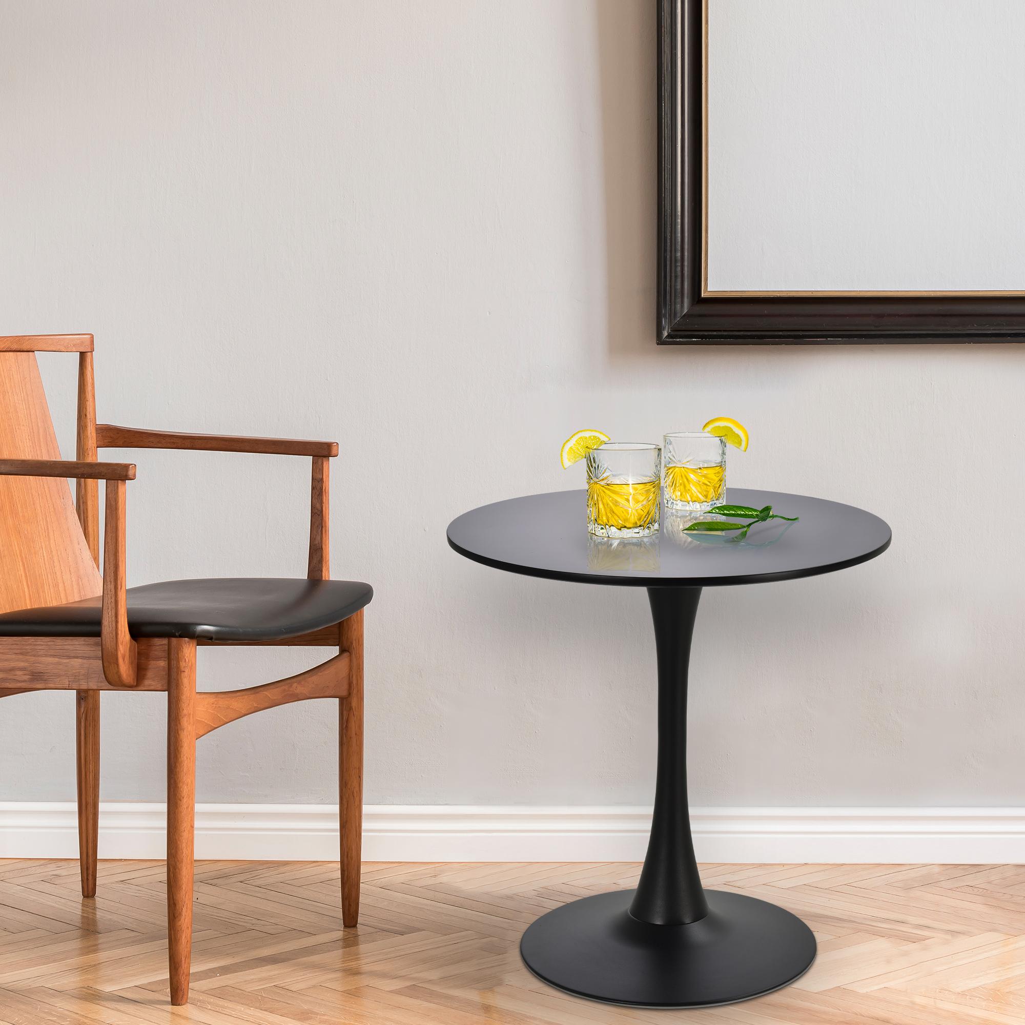 Table ronde tulipe design métal panneaux noir D70cm