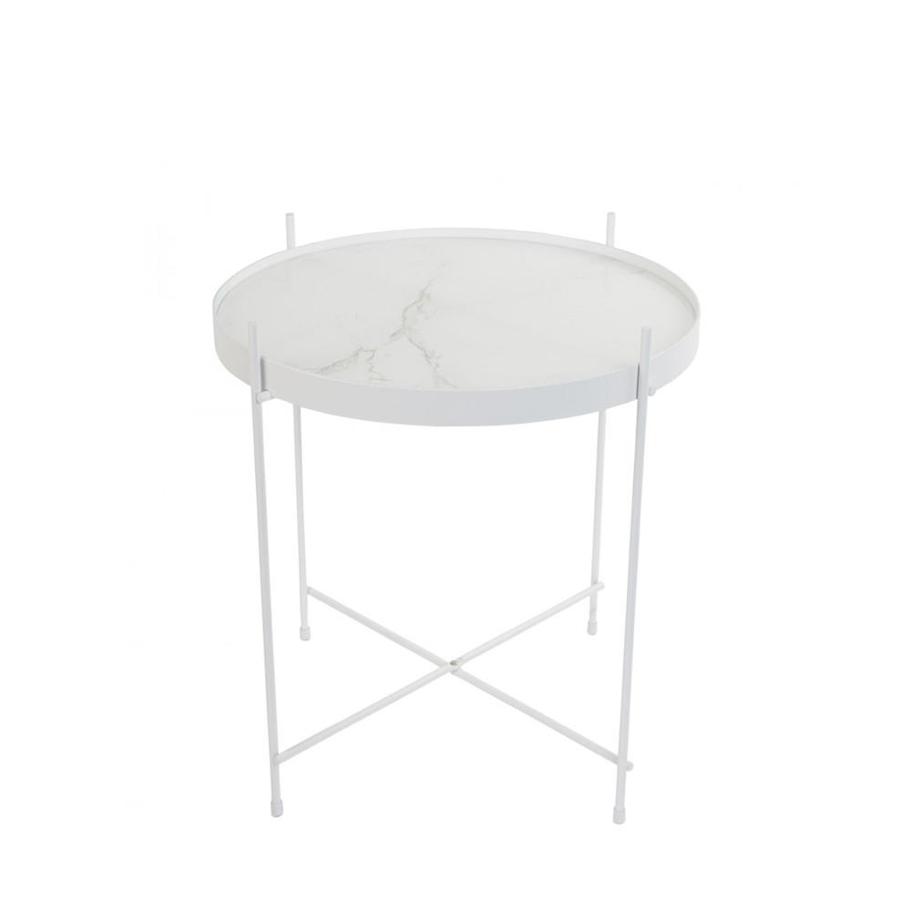Table basse design ronde blanc effet marbre