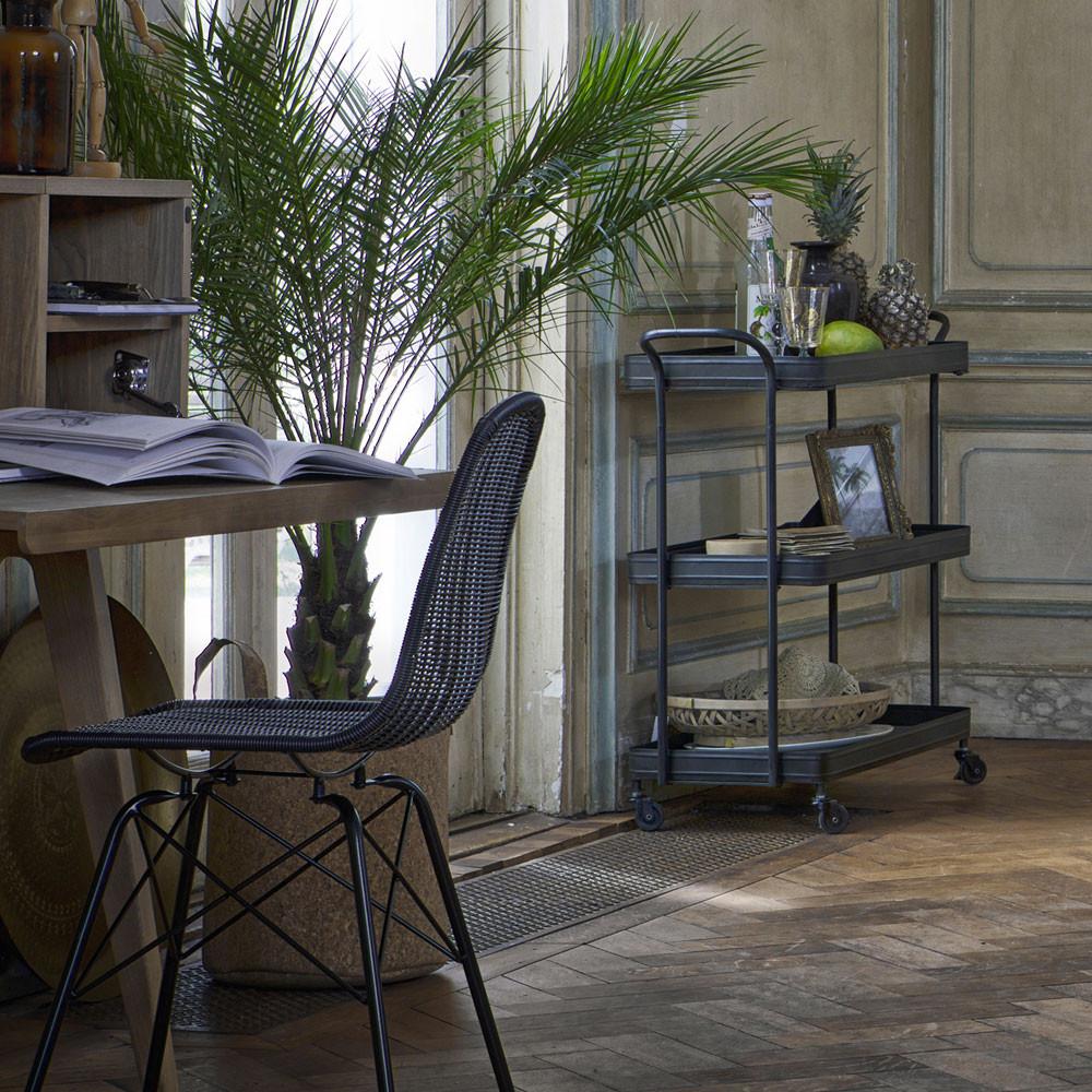 2 chaises indoor et outdoor en résine tressée noir