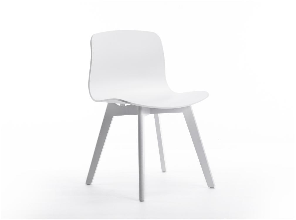 Lot de 2 chaises blanches design avec pieds en bois teinté