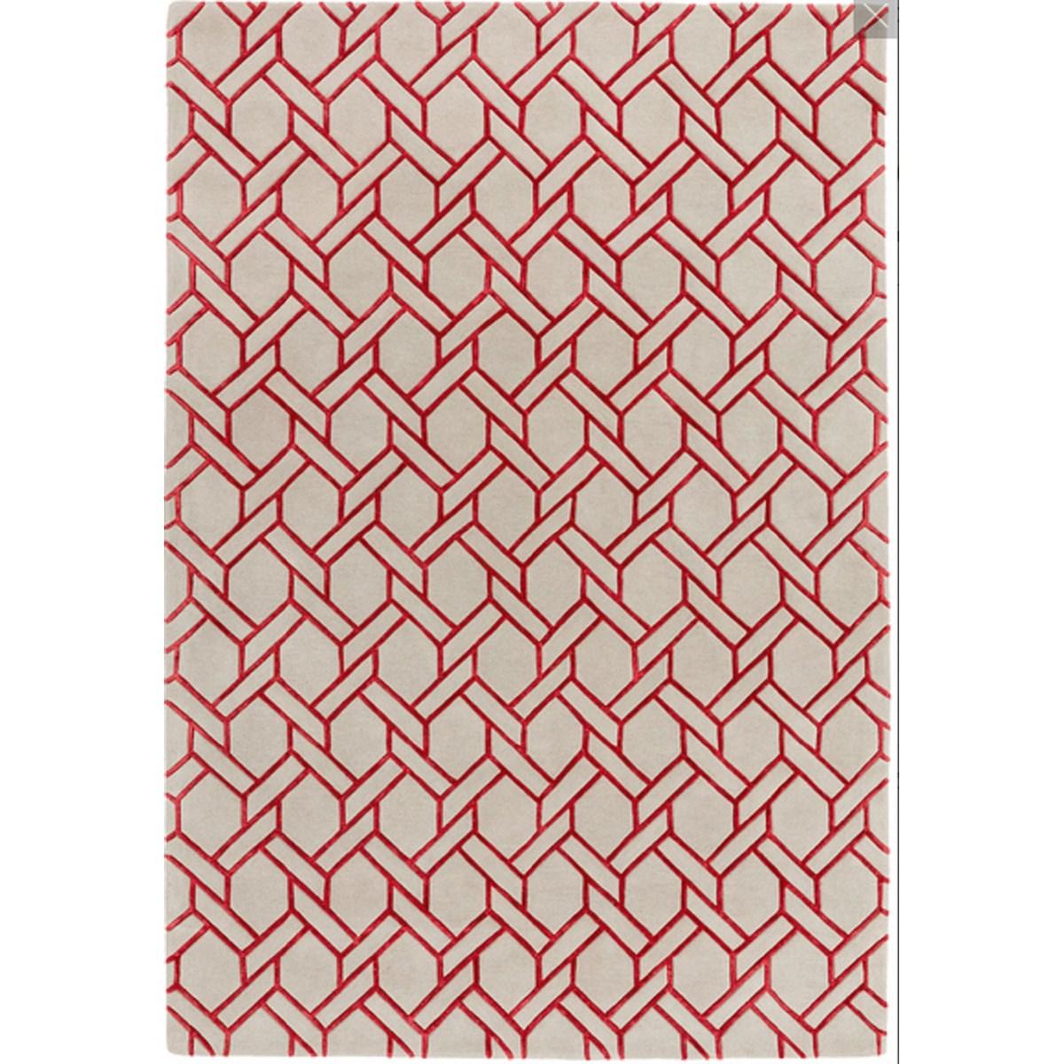 Tapis de salon moderne  en Laine Rouge 200x300 cm