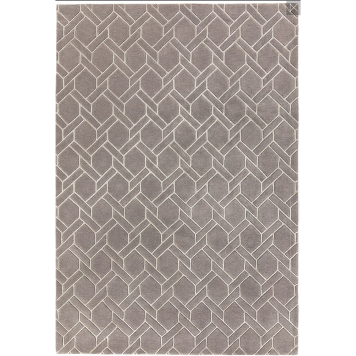 Tapis de salon moderne  en Laine Argent 120x170 cm