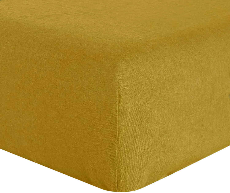 Drap Housse  lin jaune 180x200 cm
