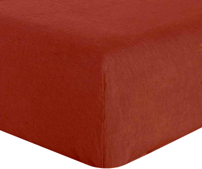 Drap Housse  lin rouge 160x200 cm