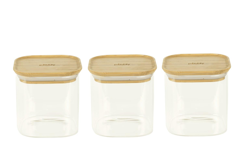 Set de 3 boîtes carrées en verre avec couvercle en bambou 800ml