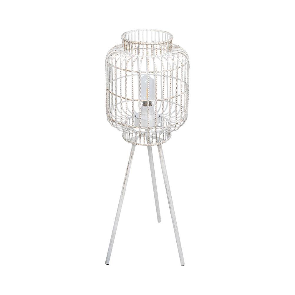 Lampe sur pied blanche en métal patiné or transportable LED H70cm